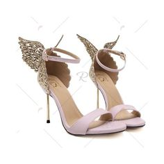 Party Wings and Ankle Strap Design Sandals For Women ($27) ❤ liked on Polyvore featuring shoes, sandals, wing shoes, going out shoes, winged sandals, ankle strap shoes and party shoes