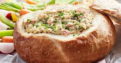 Tuck into this golden baked french onion, bacon and cheese cobb loaf dip.