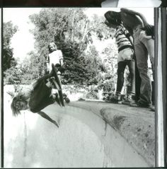 Bel Air. Beverly Hills. Holmby Hills. Vast estates built mostly through the 1940's and 1950's. The yards are sprawling and the pools are huge. The Dogtown guys were stoked during the drought... Jay Adams - Adolph's - Holmby Hills Image: Glen E. Friedman