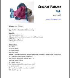 Crochet Fish, Crochet Hooks, Amigurumi Patterns, Crochet Patterns, Crocheted Animals, Key Holders, Single Crochet, Free Pattern, Cute Animals