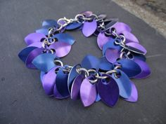 Purple and Blue Small Scale Shag Bracelet by JSWMetalWorks on Etsy, $40.00