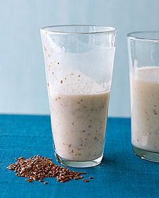 Get your protein, potassium, calcium, fiber, and omega-3s in a delicious morning shake.  Per serving: 245 calories; 9 g protein; 4 g fat; 49 g carbs; 4 g fiber.