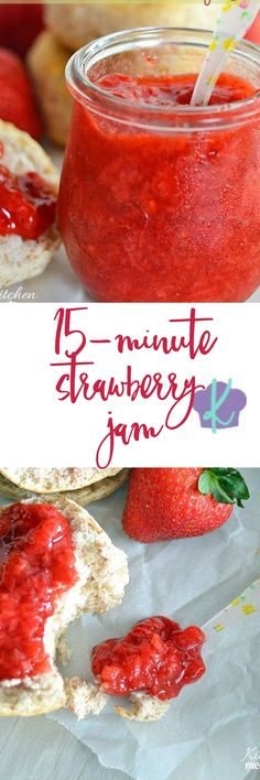 Use your fresh summer berries to make this quick and easy 15-minute strawberry jam! || Kitchen Meets Girl