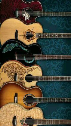 6 acoustic Luna Guitars/Models shown are (top) Flora / Lotus; SIM TO Muse /Burst but dif rosette + cutaway; Guitar Art, Guitar Chords, Music Guitar, Cool Guitar, Playing Guitar, Acoustic Guitars, Guitar Tattoo, Sound Of Music, Music Love