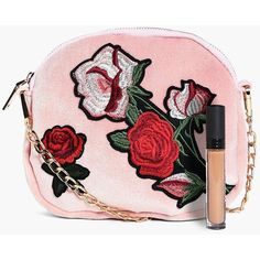 Boohoo Ava Velvet Floral Embroidered Cross Body Bag ($18) ❤ liked on Polyvore featuring bags, handbags and shoulder bags