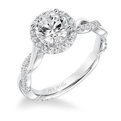 14K White Gold Contemporary Diamond Halo With Twisted Shank Engagement Ring. Baxter's Fine Jewelry offers designer and stylish Halo Engagement and Wedding Rings in Warwick, RI. #EngagementRings #WeddingRings