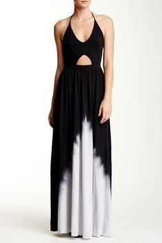 Printed Cutout Halter Maxi Dress
