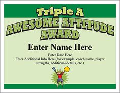 Cheerleading certificates and cheerleader award templates awesome attitude award give the triple a award to the cheerleaders who display an awesome award certificatescertificate templatesthe yelopaper Gallery