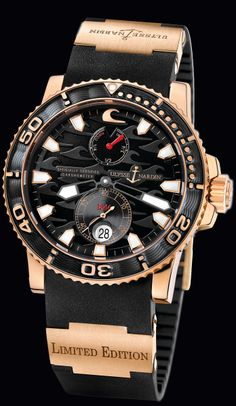 ❦ Ulysse Nardin Swiss Watch Manufacturer Since 1846: 266-37LE-3A • Black Surf • Marine Collection •