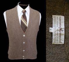 Vintage Men's Alpaca Alpaca Grandpa Sweater Vest,  Hand Knit Jumper, by Peruvian Connection, Size Medium to Large