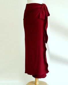 Faux wrap long skirt - red skirt - organic long skirt - knit skirt - organic clothes for women. $95.00, via Etsy.