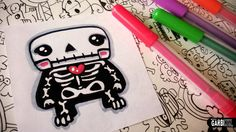 Halloween Drawings - How To Draw Cute Skeleton by Garbi KW