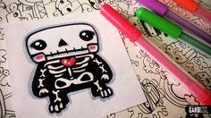 Halloween Drawings - How To Draw Cute Skeleton by Garbi KW