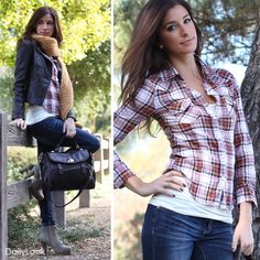 Give your casual wardrobe an off-duty update with this heritage-cool look. Pair this plaid shirt with basics and blue jeans. Keep warm by throwing a bright scarf to and moto jacket. Classic and comfortable, pair these easy pieces and sport lace-up ankle boots for a laid-back style.  Buy this look at: http://www.dailylook.com/c/11-2011-2-Plaid-Rad-Look/1/168.html