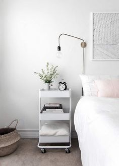 9 Best Ikea Bedroom Hacks You Need To See! The Mummy Front is part of Minimalist apartment decor - Ikea bedroom hacks are the perfect solution when you're looking for budgetfriendly, functional & great quality furniture for your bedroom! Billy Regal Ikea, Raskog Ikea, New Swedish Design, Small Bedroom Storage, Wall Storage, Small Bedroom Hacks, Pantry Storage, Storage Cart, Ikea Storage
