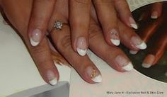 Classic LCN French manicure with bernstein-coloured rhinestomes Manicure, Nails, Nail Art, French, Classic, Beauty, Color, Nail Bar, Finger Nails