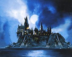Harry Potter Full Moon at Hogwarts Jim Salvati LE 100 17x21 Canvas Signed NEW Giclee Jim Salvati @ niftywarehouse.com #NiftyWarehouse #HarryPotter #Wizards #Books #Movies #Sorcerer #Wizard