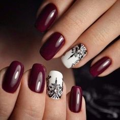 Accurate nails, Black and white nail polish, Black pattern nails, Dark cherry nails, Evening nails, Nail designs, Nails with black pattern, Rich nails