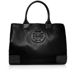 Tory Burch Crinkle Patent Ella Tote (4 520 ZAR) ❤ liked on Polyvore featuring bags, handbags, tote bags, purses, black, ipad tote bag, black tote, tory burch handbags, purse tote and tory burch purse
