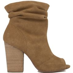 Chinese Laundry Break-Up Peep Toe Slouch Booties - Camel Suede ($100) ❤ liked on Polyvore featuring shoes, boots, ankle booties, ankle boots, camel suede, chunky heel booties, slouch boots, suede boots and suede booties