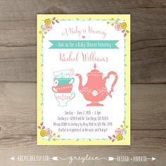 Printable Shabby Chic Tea Party Baby Shower Invitation, Blue And Pink  Flowers Invites, Spring Floral, 5x7 JPG