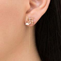 Rose gold earrings, pinwheel earrings, , solid sterling silver threader earrings, windmill earrings, origami earring studs, cute earrings