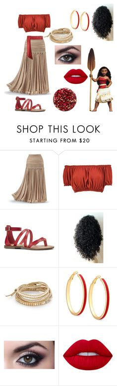 """Moana"" by ciera-bobera ❤ liked on Polyvore featuring Disney, Boohoo, Nine West, Chan Luu, GUESS, Lime Crime and Nails Inc."