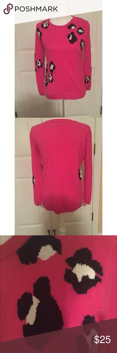 Crown & Ivy Pink Longsleeve Sweater Gently used- in excellent condition. Size XS. 100% Cotton. Pink with blue flower pattern. Crown & Ivy Sweaters Crew & Scoop Necks