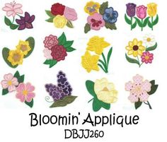 Flowers Floral Applique Machine Embroidery Designs | Designs by JuJu
