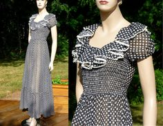 Vintage Sheer Prairie Maxi Dress Black and White by Sparcle, $98.00