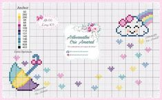 Coisinhas da Renata: chuva de amor Cross Stitch Alphabet Patterns, Square Patterns, Hand Embroidery Patterns, Cross Stitch Patterns, Knitting Patterns, Cross Stitch For Kids, Cross Stitch Baby, Baby Supplies, Crochet Instructions