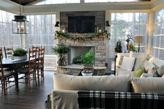 Christmas Home Tour 2016 – Back Porch Outdoor Rooms, Outdoor Living, Outdoor Patios, Outdoor Kitchens, Screened Porch Designs, Screened Porches, Sunroom Addition, Family Room Addition, Four Seasons Room