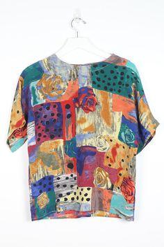 ea876d61dc0b80 Vintage 90s Shirt Mixed Print Floral Polka Dot Novelty Patchwork Print Soft  Grunge Tshirt Draped 1990s