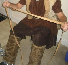 Homemade Viking Costume Calf Wraps