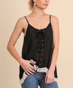 Take a look at this Black Lace-Up Tassel-Trim Tank today!