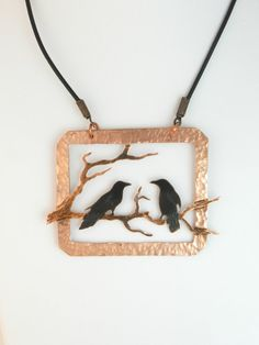 Two For Joy...This pendant is hand cut and tooled from copper sheet using a pierce and cut technique, feeding a tiny jewelry saw blade