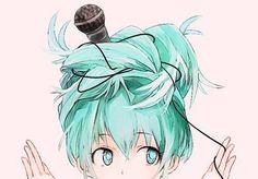Miku Hatsune, vocaloid, song,  microphone, hair, eyes, funny, kawaii