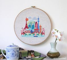Pretty Little Tokyo - Japanese Cross stitch or needlepoint pattern PDF
