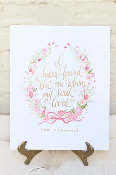 Kara Anne Paper  Custom Watercolor Art / Song of Solomon 3:4