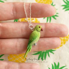 Hand Sculpted Green Ring-Neck Parakeet Pendant on Chain