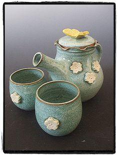 handmade tea pot and cups
