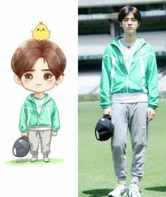 Both chibi and reality so cutee ❤ (Luhan) Chibi Exo, Anime Chibi, 17 Kpop, Kpop Exo, Sehun And Luhan, Chanyeol, Exo Cartoon, Exo Fan Art, Hunhan