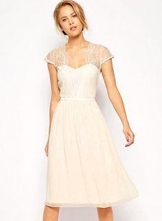 Bridesmaid Dresses - $110.41 - A-Line/Princess Sweetheart Knee-Length Chiffon Bridesmaid Dress With Lace (0075098553)