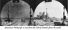 Historic views of Downtown Pittsburgh seen from the South entrance of the Liberty Tunnels.