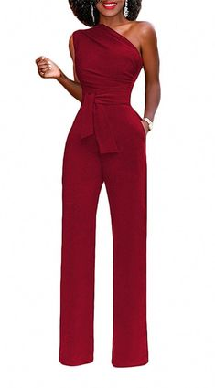 8979bcb875db Shop Women s Elegant Off One Shoulder Jumpsuit Wide Leg Belted Long Pants  Romper - Red - and Discover the latest fashion and trends in Women s Rompers  at ...