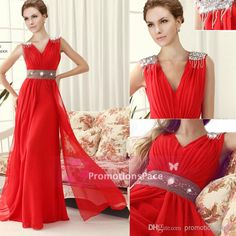 Wholesale Chiffon Bridesmaid Dress - Buy 2014 Cheap In Stock Chiffon Prom Dresses V-neck Decoratings on Shoulder Crystals Beaded Belt Floor-...