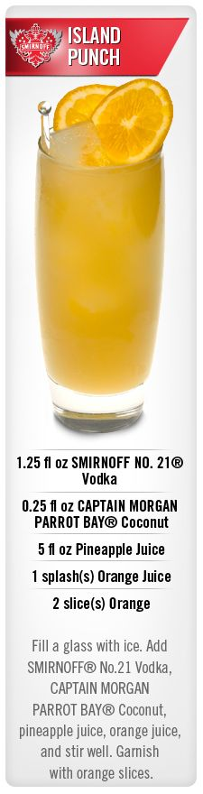 Smirnoff Island Punch drink recipe with Smirnoff vodka, Captain Morgan Parrot Bay Coconut, Pineapple Juice and Orange Juice #Smirnoff #vodka #recipe