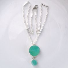 Necklace  Recycled Glass Jewelry Mint green pendant on by Galleros, $19.00