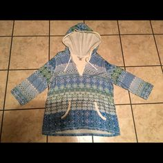Christopher & Banks hooded shirt Christopher & Banks blue and green patterned shirt with hood. Worn a few times. Great condition. Size XL. Three quarter length sleeves. Has a pocket on the stomach similar to a hoody. Very nice top. Christopher & Banks Tops Blouses