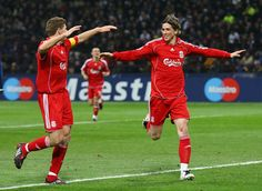 Fernando Torres Photos Photos - Fernando Torres (R) of Liverpool celebrates with teammate Steven Gerrard (L) after scoring the opening goal (0-3 agg) during the UEFA Champions League first knockout round, second leg match between Inter Milan and Liverpool at the San Siro on March 11, 2008 in Milan, Italy. - Inter Milan v Liverpool - UEFA Champions League